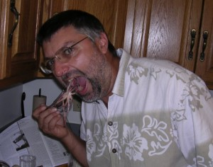Dave eating squid
