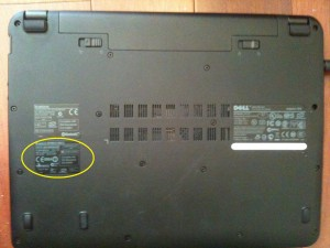 Picture showing where the label with wireless specifications is