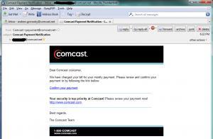 A fake message claiming to come from Comcast. It includes a link.
