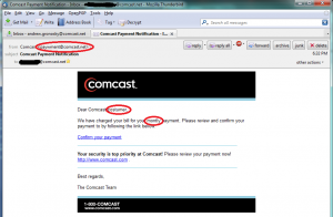 "The message contains some spelling errors and the dubious sender address, ""paywment@comcast.net"" (sic)"
