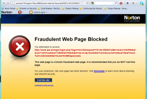 "The warning message from Semantec Internet Security: ""Fraudulent Web Page Blocked"""