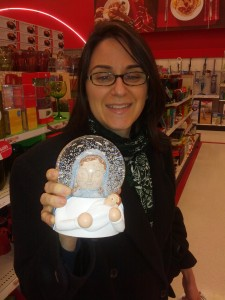 This is a Virgin Mary snow globe that looks like she's wearing an astronaut helmet. And it plays music! We didn't buy it.