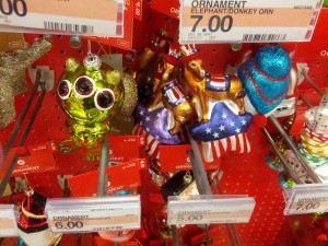 The three-eyed Christmas alien, and the patriotic Christmas ... llama? Maybe it's supposed to be a donkey, but a political party's symbol seems hardly more appropriate. I didn't find a Christmas patriotic elephant. But that's not so say I want one. We didn't buy either of these.