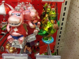 More surreal ornaments. I am reassured that the rack was full of these: it means maybe nobody had bought any.