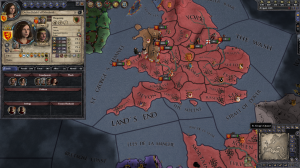This full screenshot shows Delyth at 16, just after her majority and marriage. The map shows southern Wales as part of England, a situation I certainly didn't want to continue for long